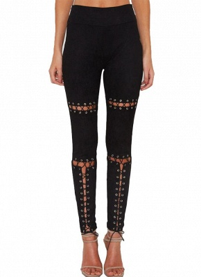 Sexy Faux Suede Lace Up Bandage High Waist Women's Leggings_7