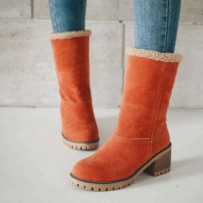 Nubuck Chunky Heel Slip-On Round Toe Boots_9