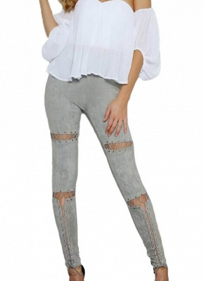 Sexy Faux Suede Lace Up Bandage High Waist Women's Leggings_4