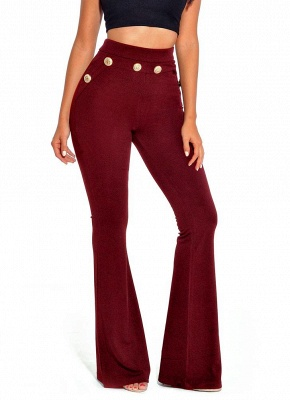 Sexy Women Button Bodycon Bell Pants High Waist Flared Buttom Wide Leg Slim Casual Long Trousers_1