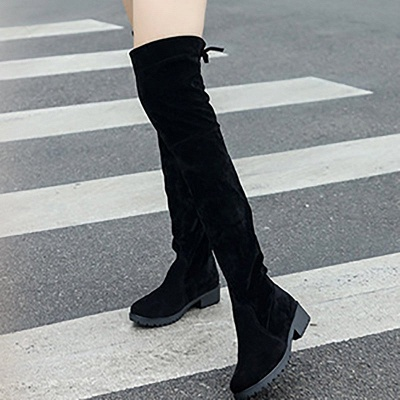 Black Suede Daily Chunky Heel Round Toe Boots_7