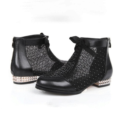 Black Chunky Heel Bowknot Casual Mesh Boots_9
