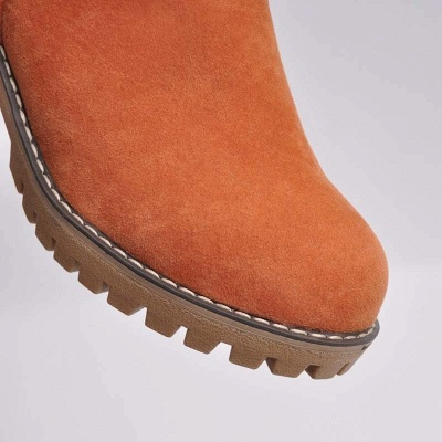 Nubuck Chunky Heel Slip-On Round Toe Boots_17
