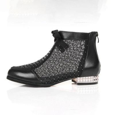 Black Chunky Heel Bowknot Casual Mesh Boots_7