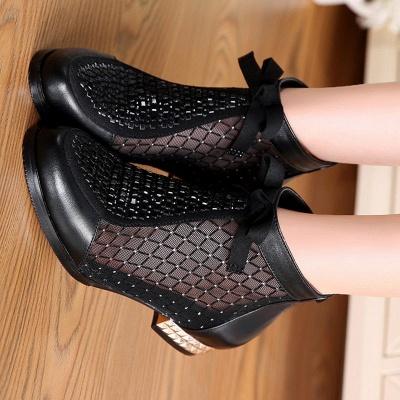 Bottes noires décontractées en maille bowknot à talons chunky_10