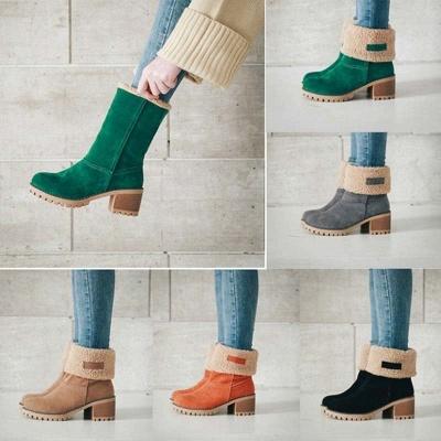 Nubuck Chunky Heel Slip-On Round Toe Boots_6