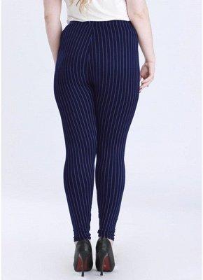 Plus Size elastische Taille gestreiften Bodycon Hosen_5