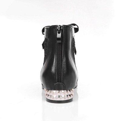 Черная короткая каблук Bowknot Casual Mesh Boots_8