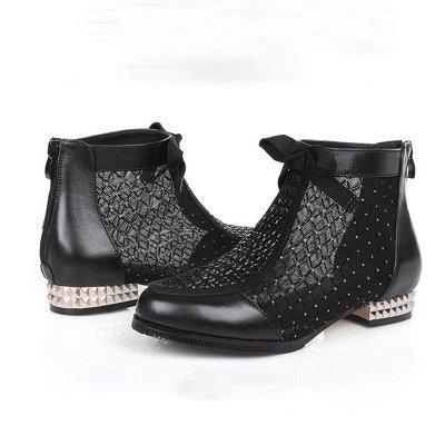 Черная короткая каблук Bowknot Casual Mesh Boots_9
