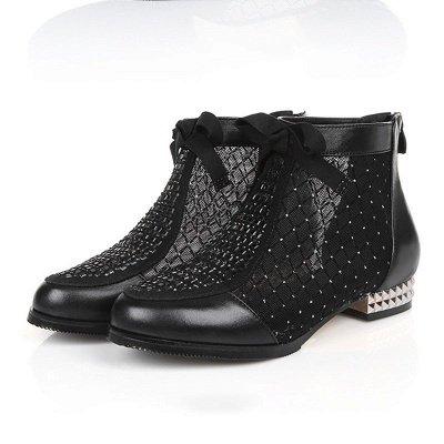 Черная короткая каблук Bowknot Casual Mesh Boots_4
