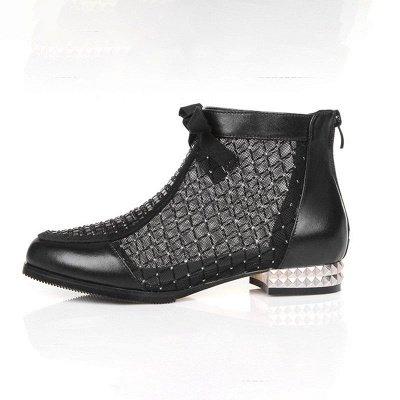 Черная короткая каблук Bowknot Casual Mesh Boots_7