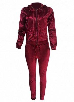 Frauen zwei Stück Trainingsanzug Zip Hoodie Sweatshirt Hosen Sportswear Fitness-Set_5