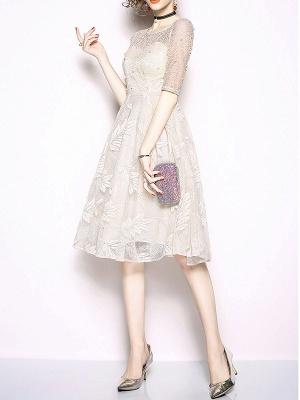 White Flounce Elegant Crew Neck Lace Beaded Guipure lace A-line Midi Dresses_5