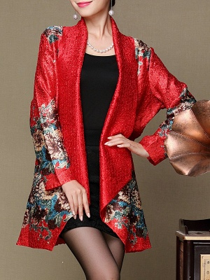 Asymmetrical Long Sleeve Shawl Collar Casual Crinkled Printed Coat_1