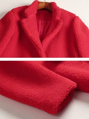 Red Shift Solid Stand Collar Long Sleeve Coat_5