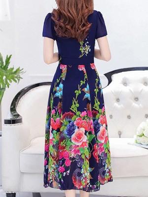 Square Neck Maxi Kleid Tageskleid Kurzarm Boho Printed Floral Dress_8