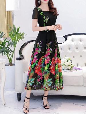 Square Neck Maxi Kleid Tageskleid Kurzarm Boho Printed Floral Dress_10