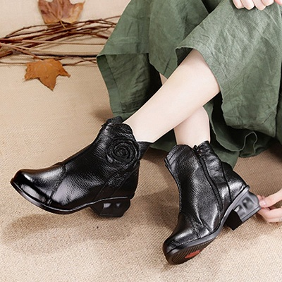 Daily Flower Round Toe Zipper Chunky Heel Boots_5