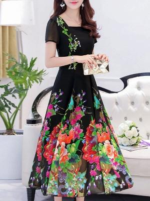 Square Neck Maxi Kleid Tageskleid Kurzarm Boho Printed Floral Dress_9