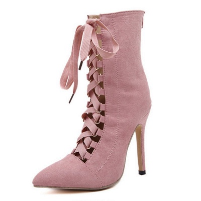 Lace-up Stiletto Heel Daily Elegant Pointed Toe Boots_7