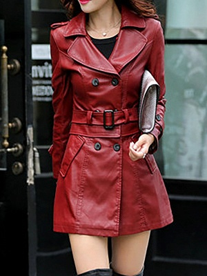Long Sleeve Casual Buttoned Shift Solid Pockets PU Coat_8