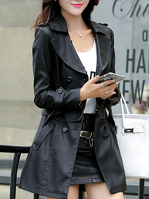 Long Sleeve Casual Buttoned Shift Solid Pockets PU Coat_3