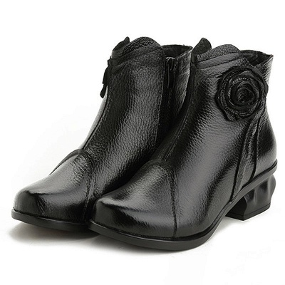 Daily Flower Round Toe Zipper Chunky Heel Boots_9