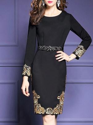 Black Midi Dress Bodycon Party Dress Long Sleeve Elegant Embroidered Floral Dress_1
