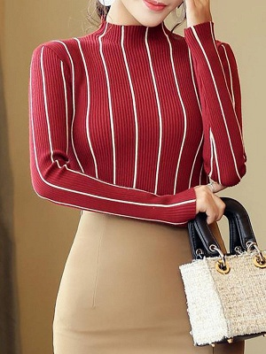 Casual Long Sleeve Sheath Sweater_1