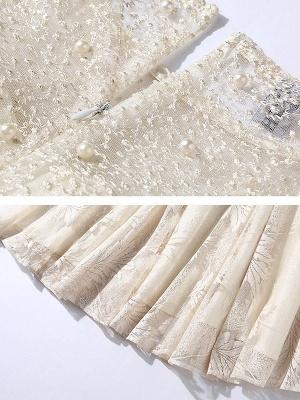 White Flounce Elegant Crew Neck Lace Beaded Guipure lace A-line Midi Dresses_7