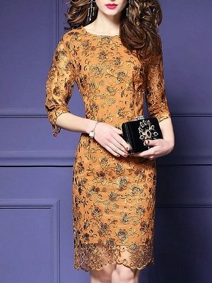 Yellow Elegant Guipure Lace Sheath Embroidered See-through Look Midi Dresses