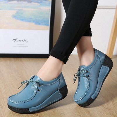 Wedge Heel Daily Lace-up Round Toe Loafers