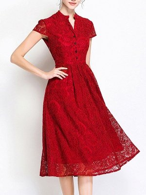 Work Stand Collar Solid Guipure lace Paneled A-line Midi Dresses
