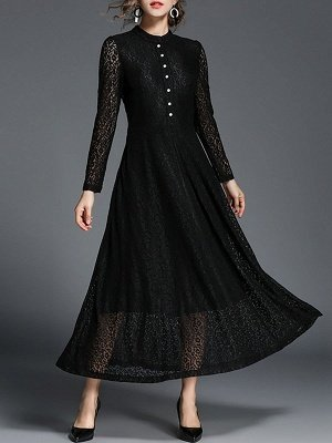 Stand Collar A-line Lace Long Sleeve Paneled  Guipure lace Maxi Dresses
