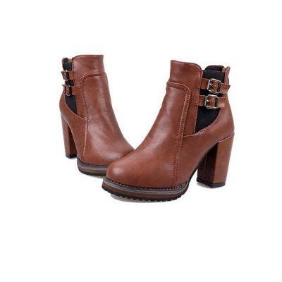 PU Buckle Round Toe Chunky Heel Boot_8