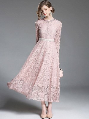 A-line Casual Guipure lace Solid Maxi Dress_1