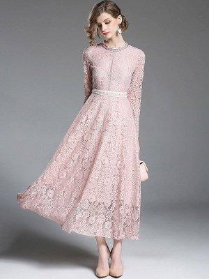 Una línea de encaje guipur informal vestido maxi sólido_1