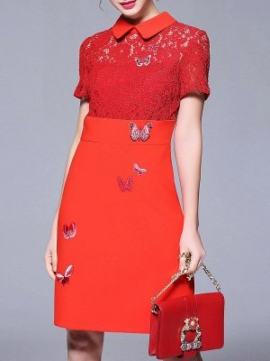 Plus Size Peter Pan Collar Red Midi Dress Daytime Dress Short Sleeve Lace Embroidered Plain Dress