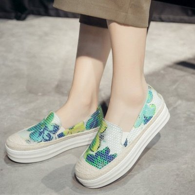 Floral Print Daily Round Toe Wedge Loafers