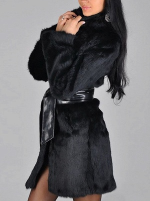 Black Long Sleeve Pockets Casual Fur and Shearling Coat_4
