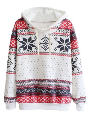 Ethnic Style Snowflakes Printed Thick Fleece Hoodies Casual Hooded Christmas Clothing for Women_1