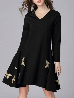 V neck A-line Daily Elegant Embroidered Animal Midi Dress_7