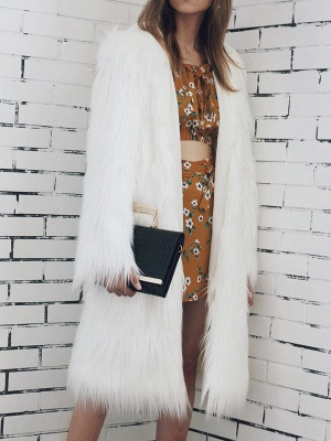 Hoodie Long Sleeve Fluffy Fur and Shearling Coat_1