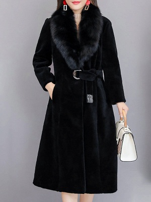 Buttoned Paneled Solid Shawl Collar Fur And Shearling Coats_3