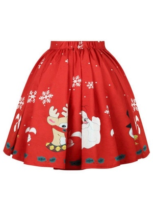 أحمر عيد الميلاد الغزلان سانتا كلوز ندفة الثلج المطبوعة عالية الخصر تنورة مطوي ميدي_3
