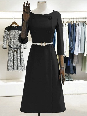 Work 3/4 Sleeve Slit Solid A-line Bateau/boat neck Midi Dress_9