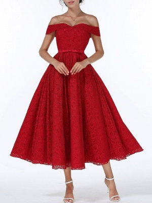 Christmas Party Long Homecoming Dresses Red Off The Shoulder Lace Midi Swing Evening Gowns Prom Dress_1