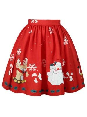 أحمر عيد الميلاد الغزلان سانتا كلوز ندفة الثلج المطبوعة عالية الخصر تنورة مطوي ميدي_2
