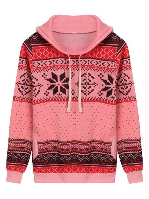 Ethnic Style Snowflakes Printed Thick Fleece Hoodies Casual Hooded Christmas Clothing for Women_2