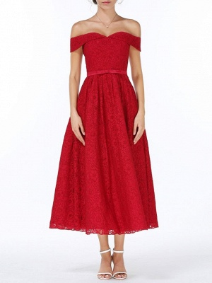 Christmas Party Long Homecoming Dresses Red Off The Shoulder Lace Midi Swing Evening Gowns Prom Dress_4
